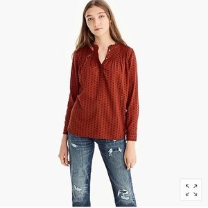 Jcrew Ruffle Classic Popover Shirt in Rust Orange